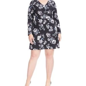 Adrianna Papell Etch Floral Fit And Flare Dress